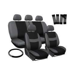 17 pc Car Seat Covers Gray Black