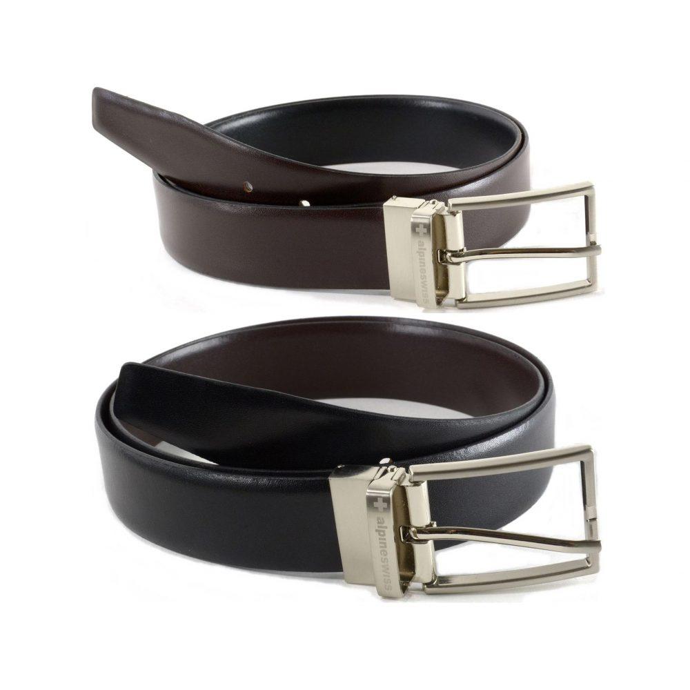 alpine swiss dress belt reversible black brown leather