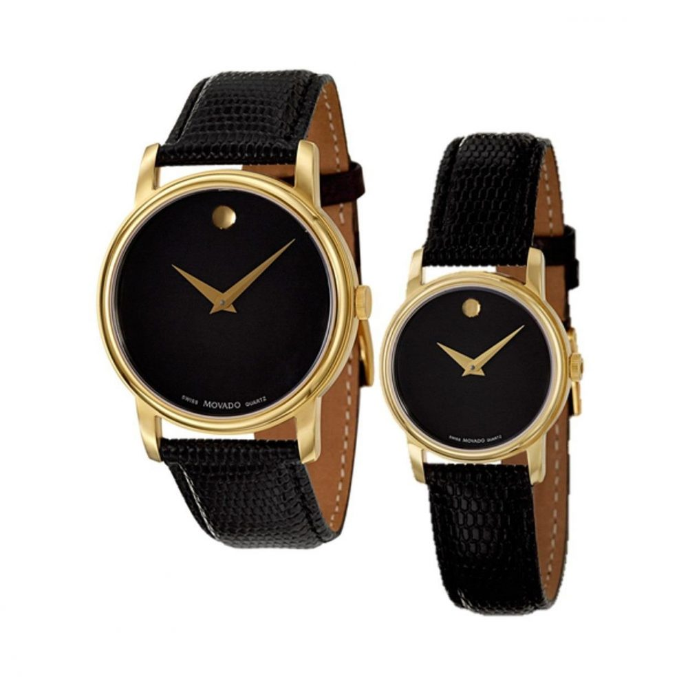 movado museum black dial gold black leather watch mens
