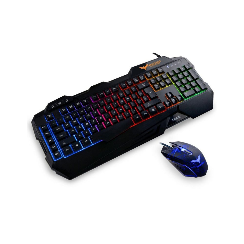 havit rainbow backlit wired gaming keyboard mouse 2017 model. Black Bedroom Furniture Sets. Home Design Ideas