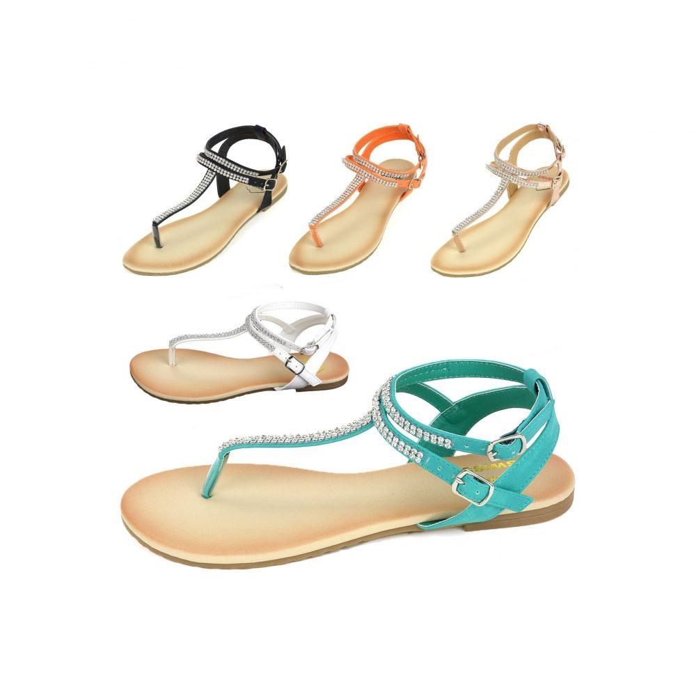690c37589fc1 Alpine Swiss Gladiator Sandals T-Strap Slingback Roman Rhinestone Flats –  Women