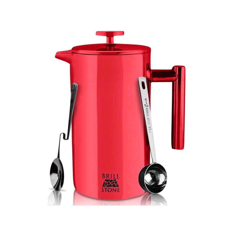 Tea Coffee Maker French Press : Brill Stone Stainless Steel French Press Coffee & Tea Maker Complete Bundle