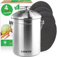 Linkyo 4 Filters Stainless Steel Kitchen Composter – 1 Gallon