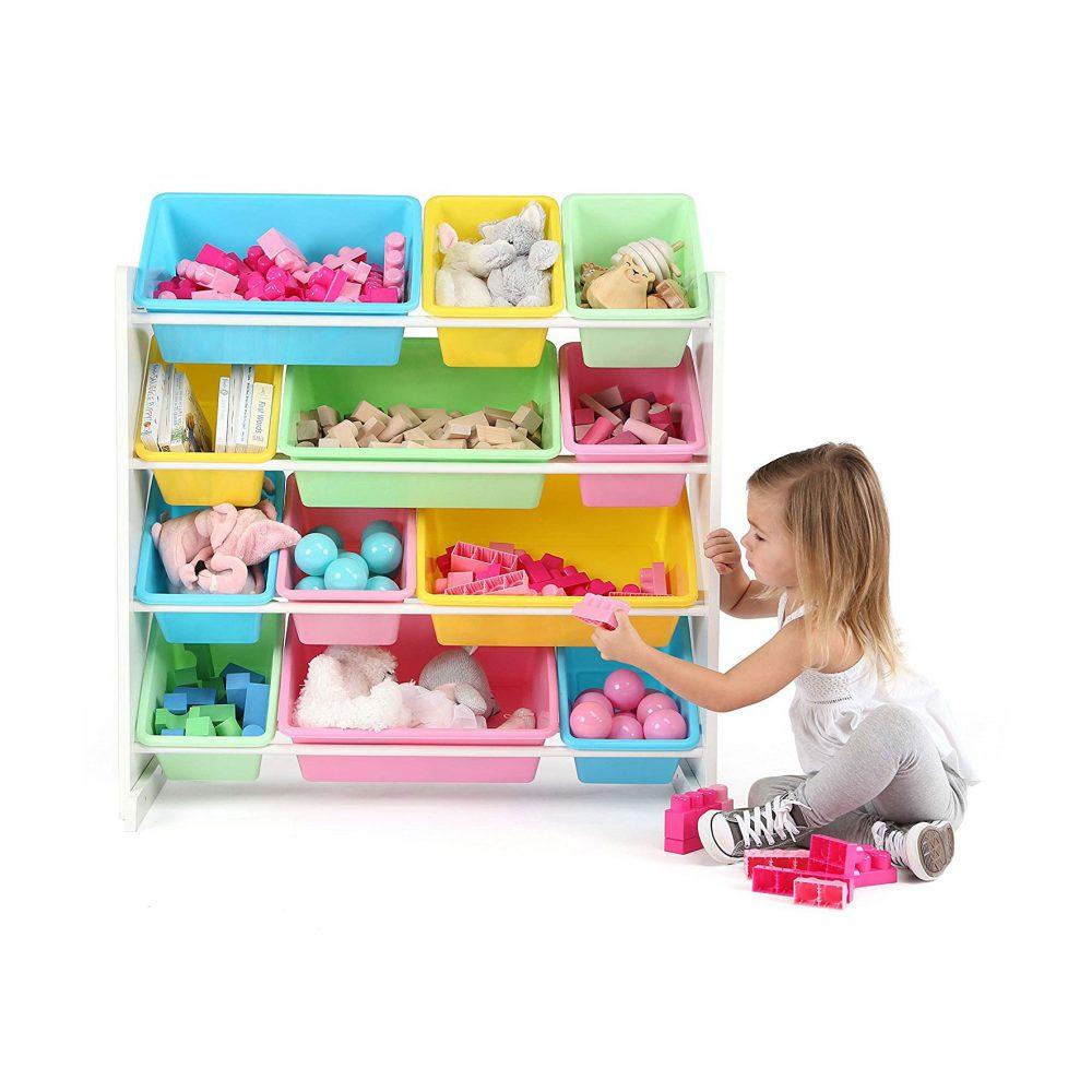 tot tutors toy storage organizer with 12 plastic bins. Black Bedroom Furniture Sets. Home Design Ideas