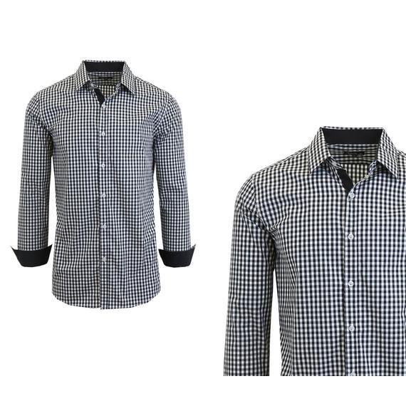 Long sleeve gingham plaid dress shirt men for Men s red gingham dress shirt