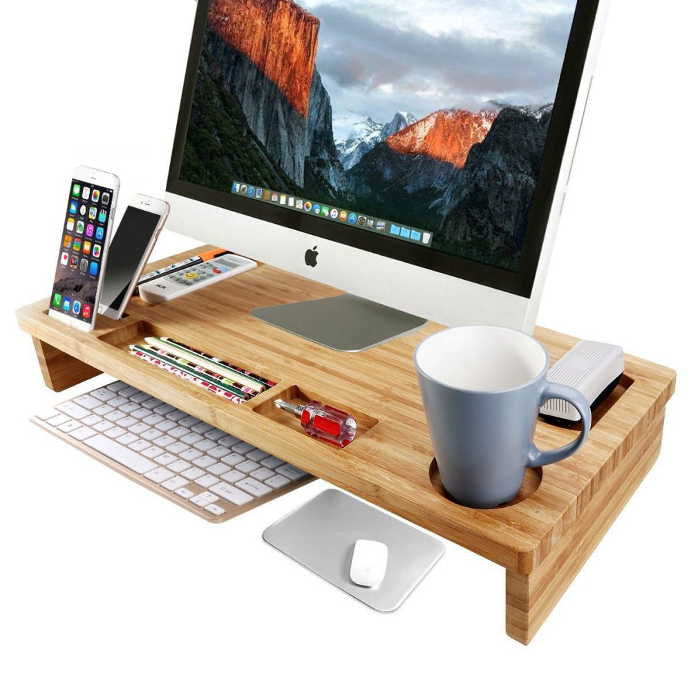 OULII Bamboo Monitor Stand Riser 25.6-Inch Lap Desk