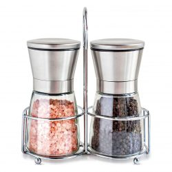 Willow & Everettn Salt & Pepper Shakers with Matching Stand