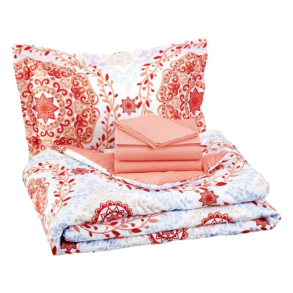 Amazonbasics 5 Piece Bed In A Bag Coral Medallion Twin