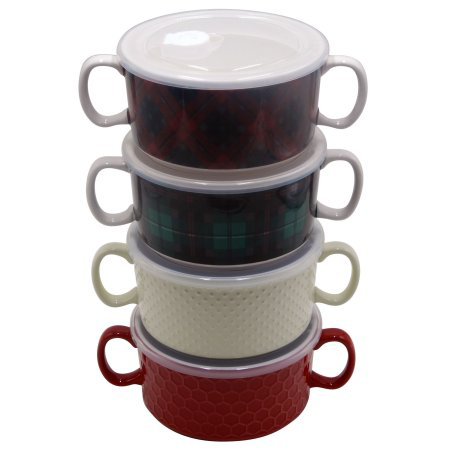Mainstays Double Handle Soup Bowl with Lid - 4 Pack