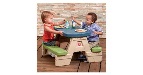 Step2 sit and play picnic table with umbrella for kids watchthetrailerfo